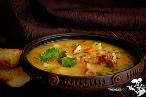 Суп гороховый с копчеными ребрышками пошаговое